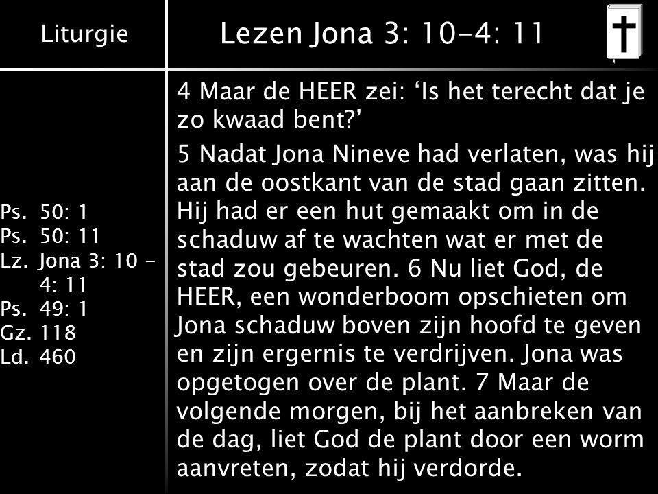 Lezen Jona 3: 10-4: 11 4 Maar de HEER zei: 'Is het terecht dat je zo kwaad bent '