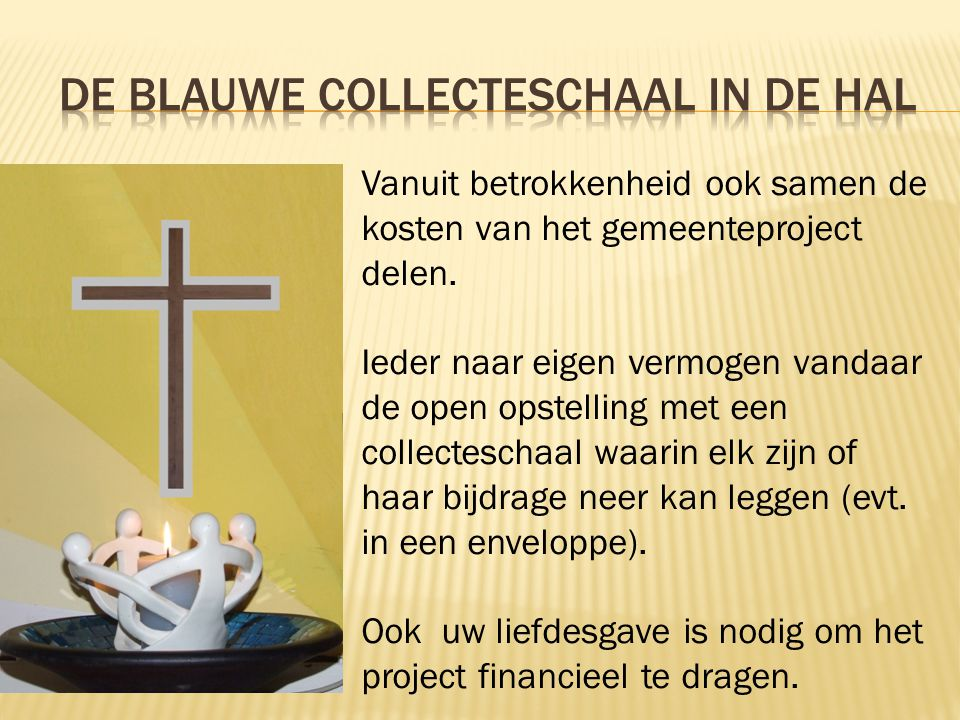 De blauwe collecteschaal in de hal