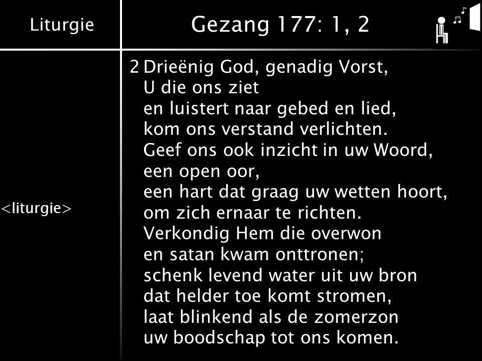 Gezang 177: 1, 2 2 Drieënig God, genadig Vorst, U die ons ziet