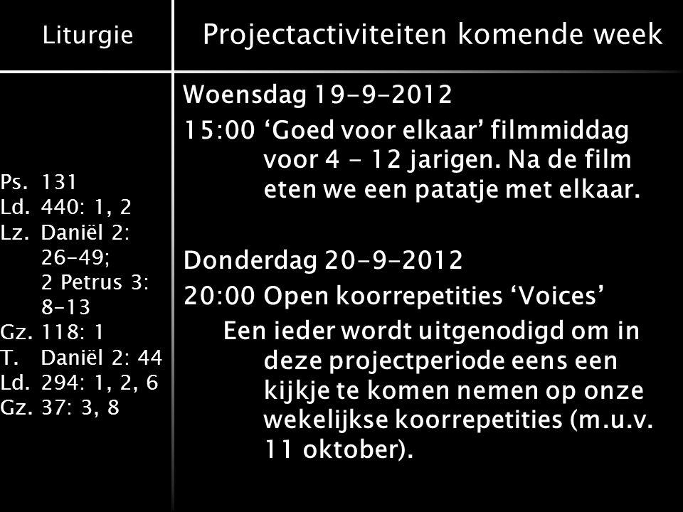 Projectactiviteiten komende week