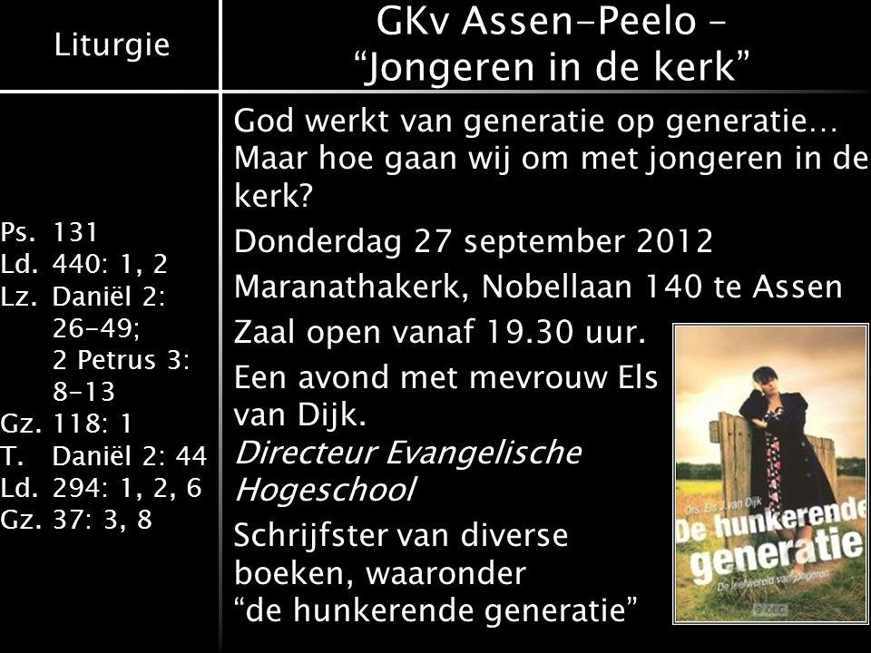 GKv Assen-Peelo – Jongeren in de kerk