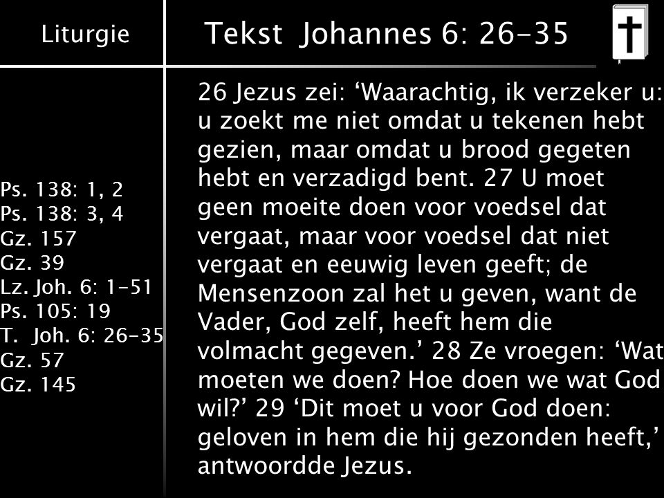 Tekst Johannes 6: 26-35