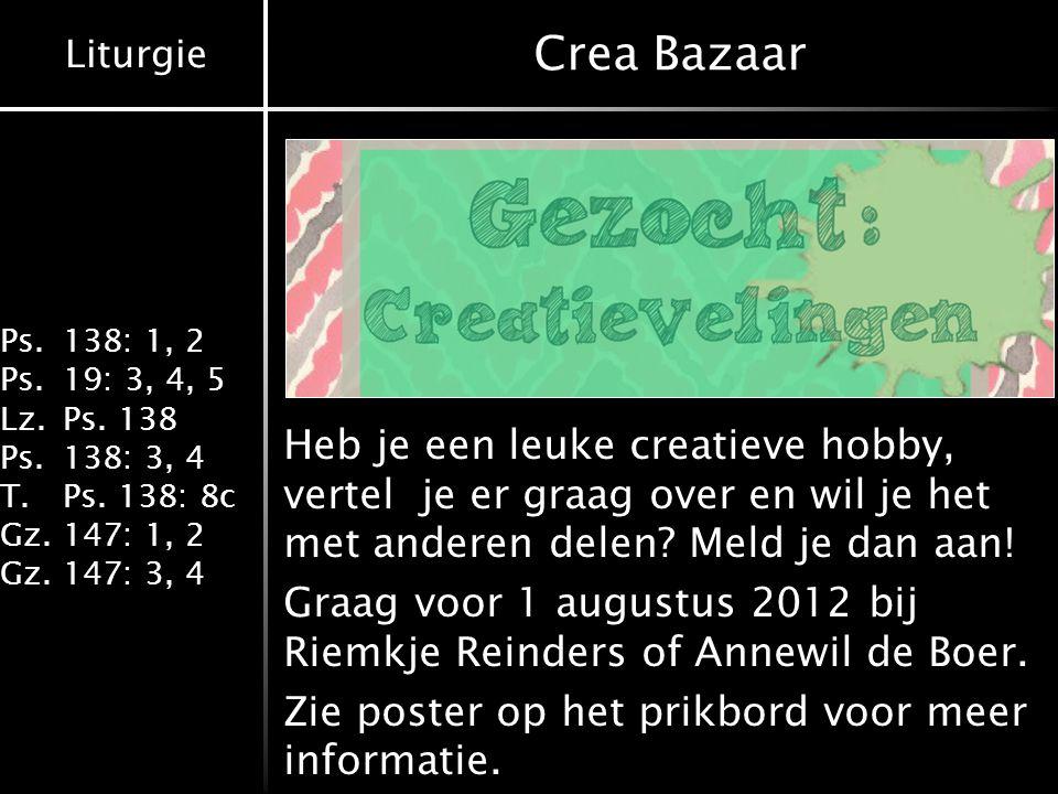 Crea Bazaar Heb je een leuke creatieve hobby, vertel je er graag over en wil je het met anderen delen Meld je dan aan!