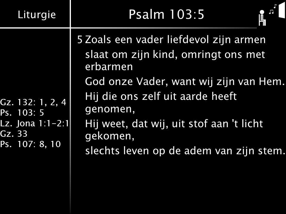 Psalm 103:5 5 Zoals een vader liefdevol zijn armen