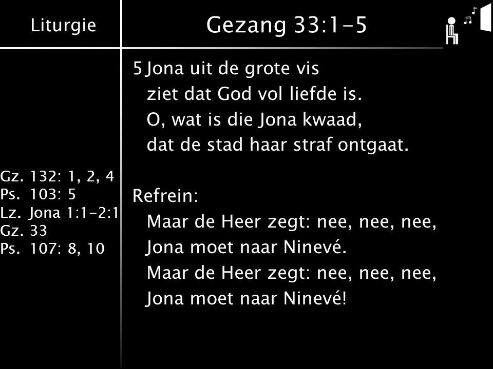 Gezang 33:1-5 5 Jona uit de grote vis ziet dat God vol liefde is.