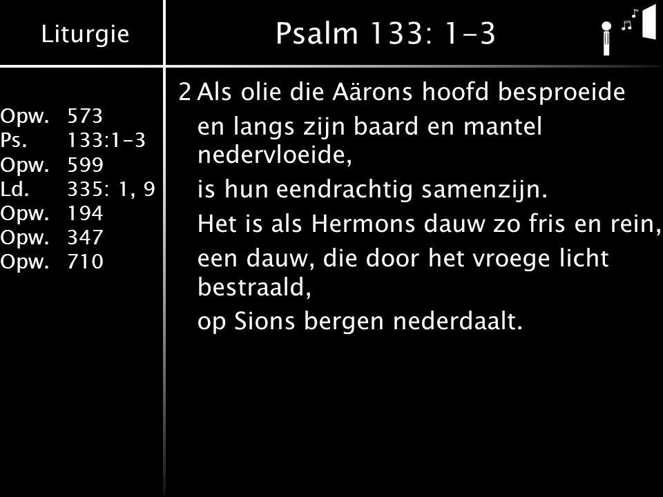 Psalm 133: 1-3 2 Als olie die Aärons hoofd besproeide