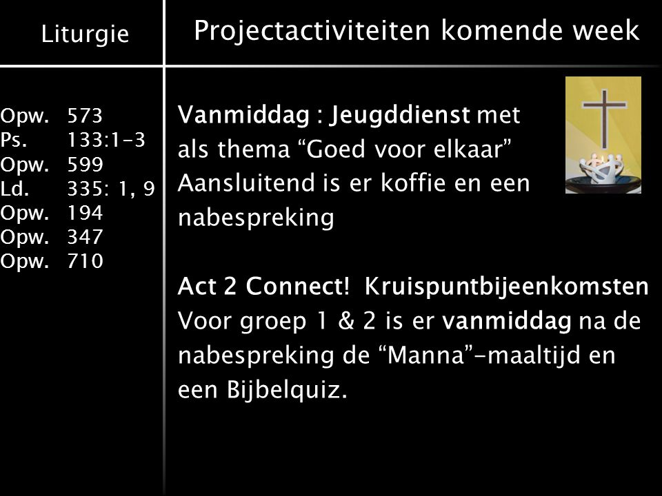 Projectactiviteiten komende week
