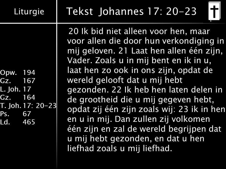 Tekst Johannes 17: 20-23