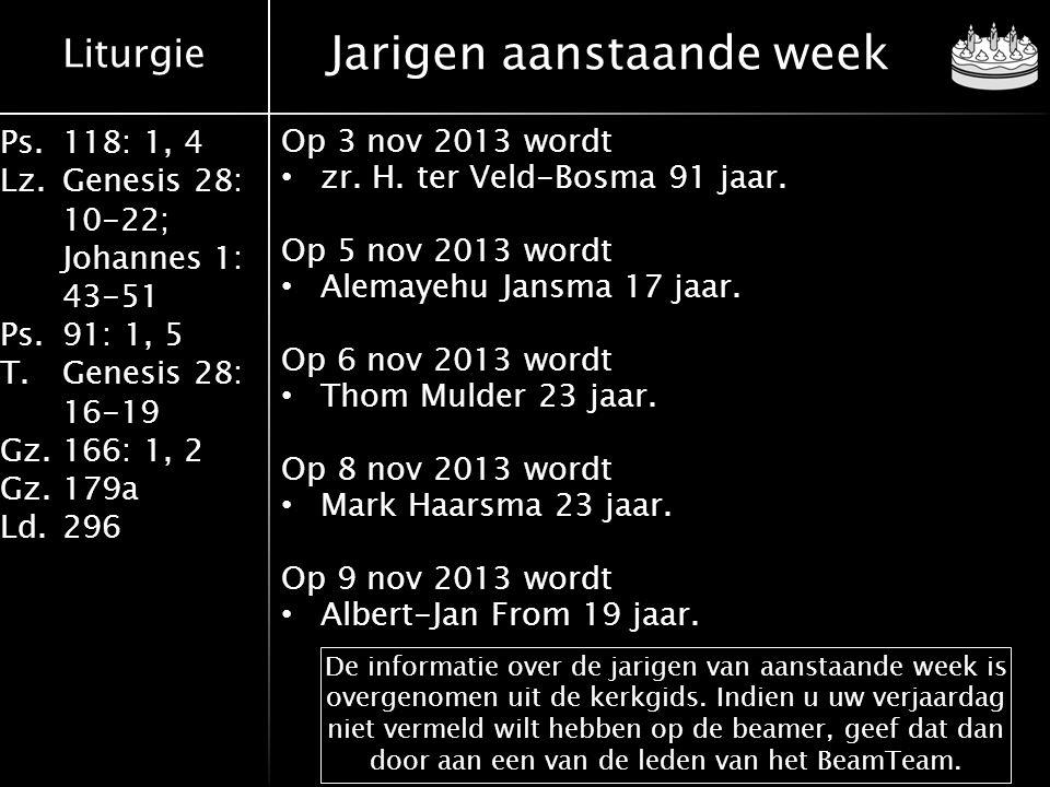 Jarigen aanstaande week