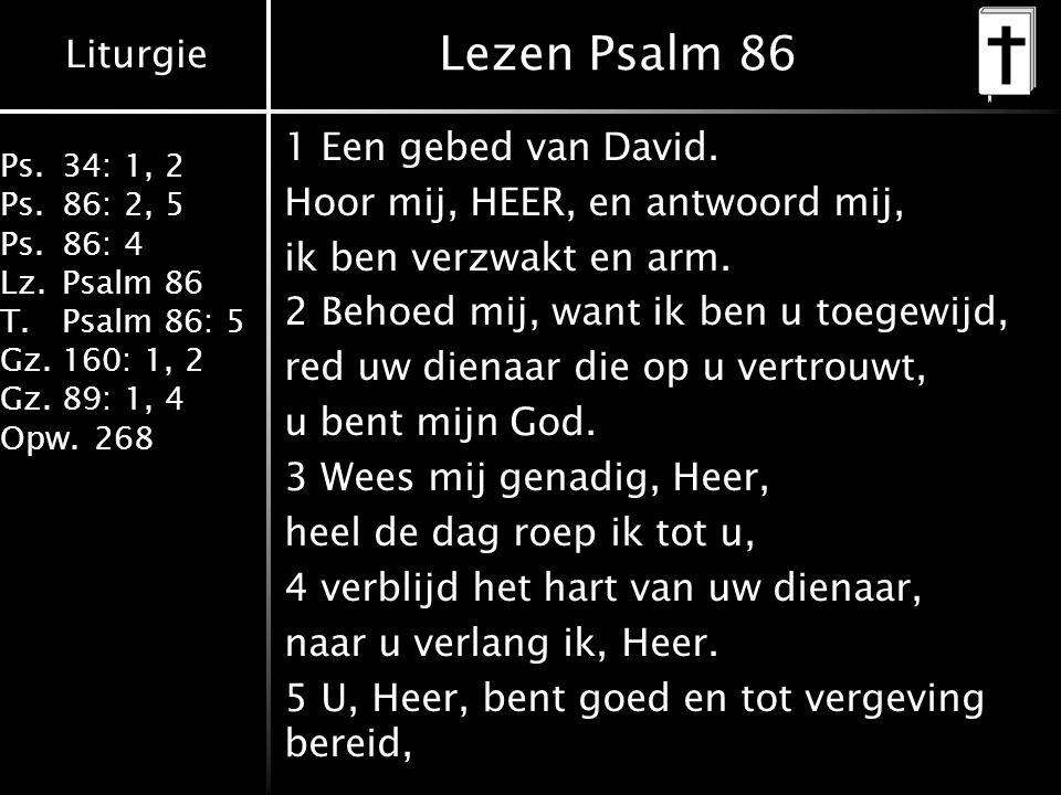 Lezen Psalm 86 1 Een gebed van David. Hoor mij, HEER, en antwoord mij,