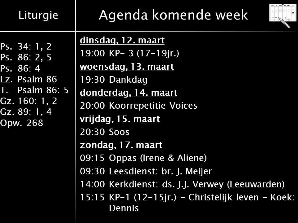 Agenda komende week dinsdag, 12. maart 19:00 KP- 3 (17-19jr.)