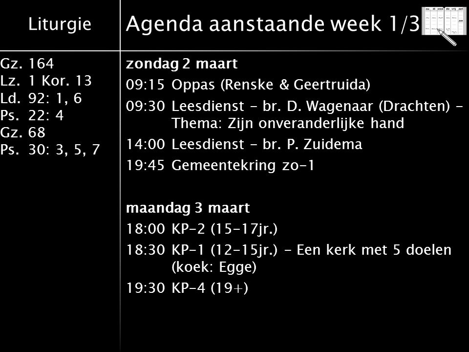 Agenda aanstaande week 1/3