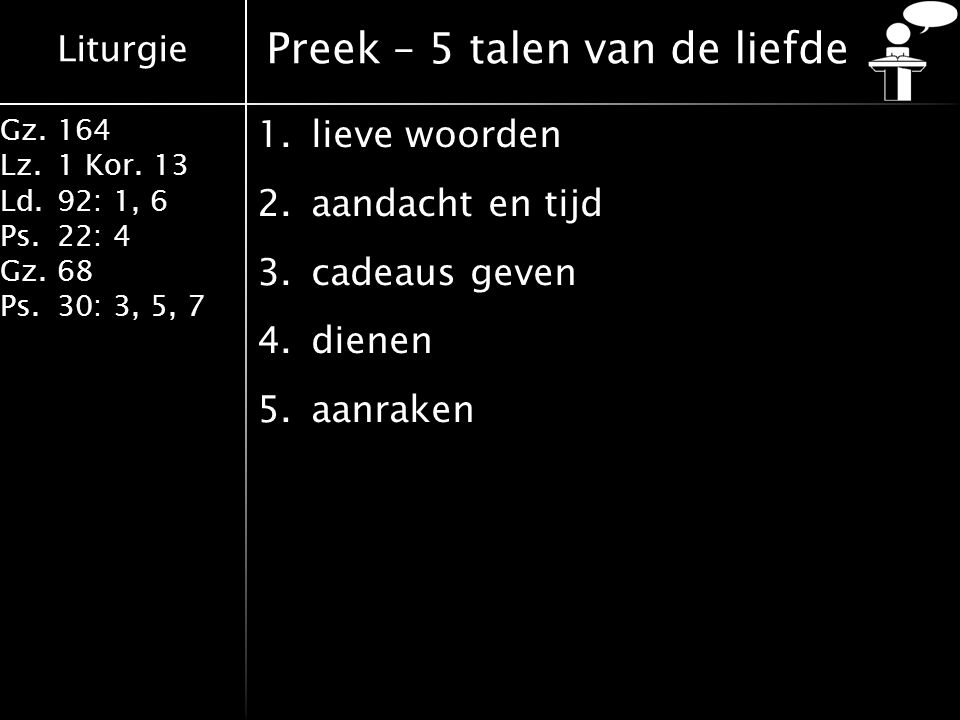 Preek – 5 talen van de liefde