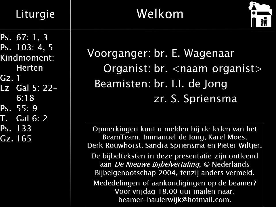 Welkom Voorganger: br. E. Wagenaar Organist: br. <naam organist> Beamisten: br. I.I. de Jong zr. S. Spriensma