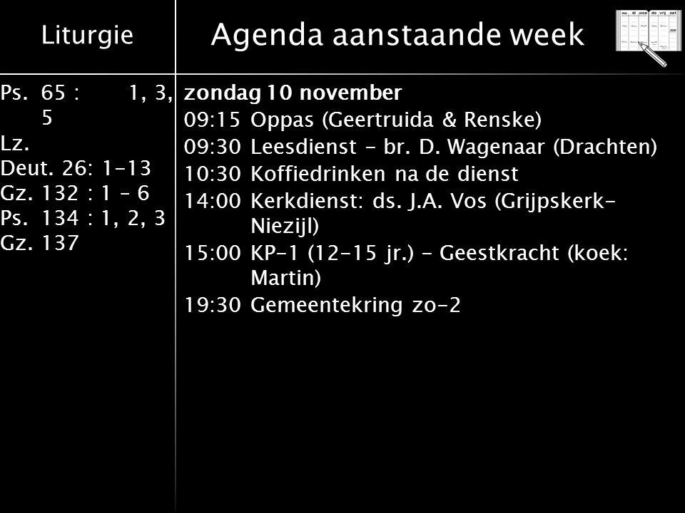 Agenda aanstaande week
