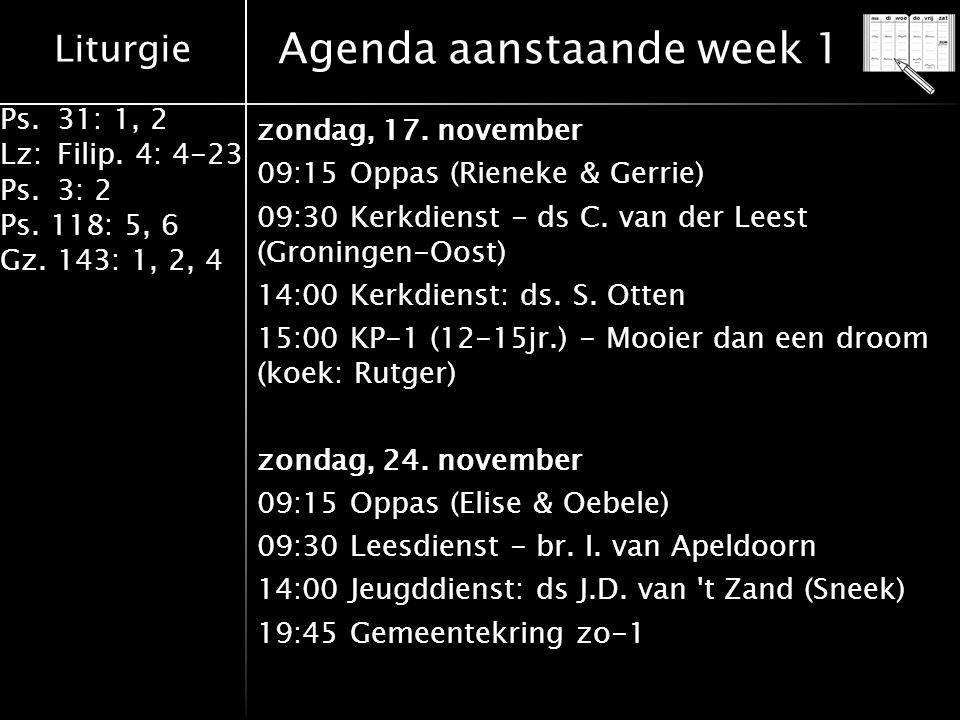 Agenda aanstaande week 1