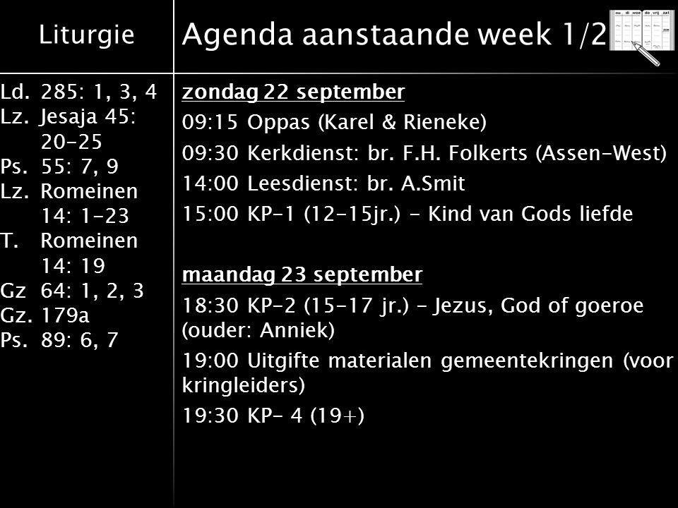 Agenda aanstaande week 1/2