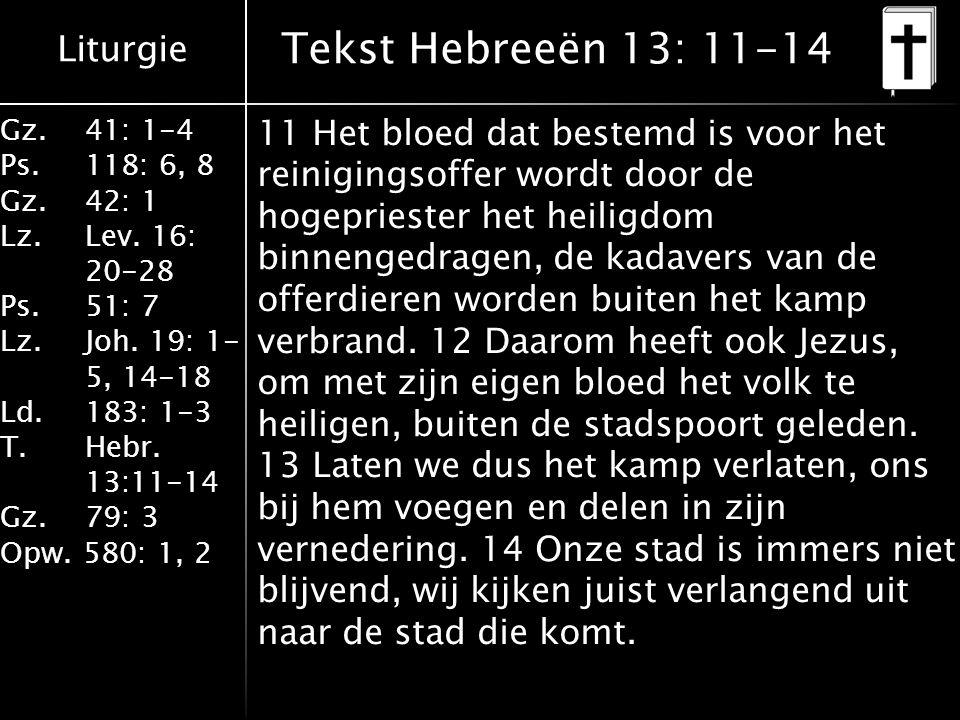 Tekst Hebreeën 13: 11-14