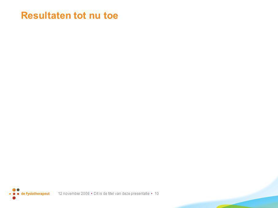 Resultaten tot nu toe 12 november 2008 • Dit is de titel van deze presentatie • 10