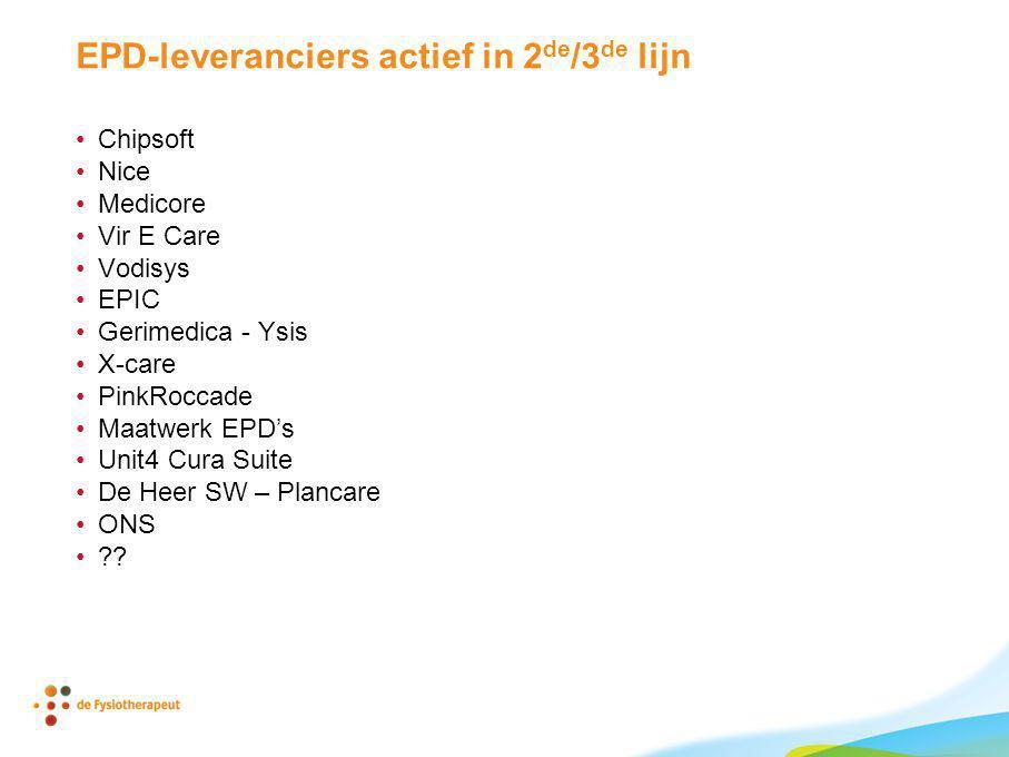 EPD-leveranciers actief in 2de/3de lijn