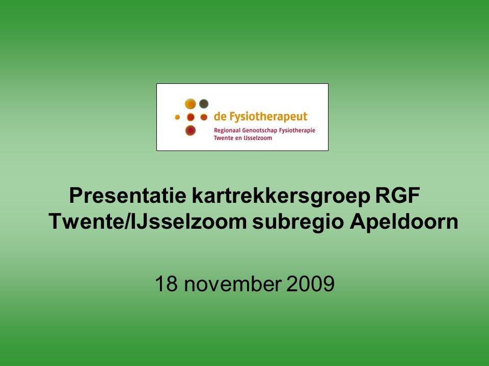 Presentatie kartrekkersgroep RGF Twente/IJsselzoom subregio Apeldoorn 18 november 2009