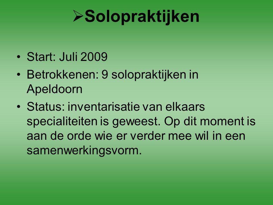 Solopraktijken Start: Juli 2009
