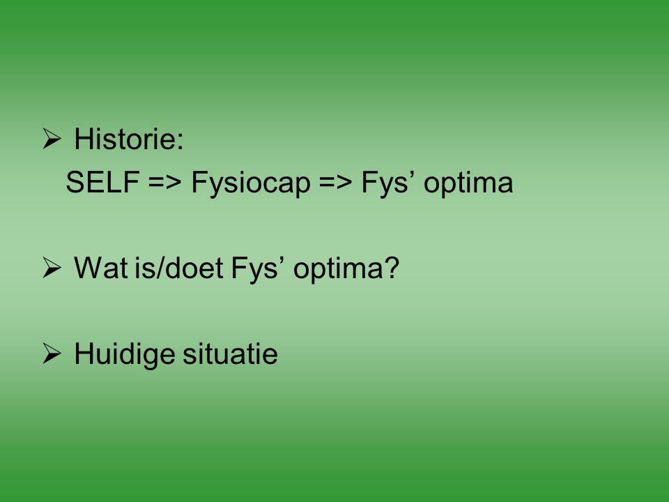 Historie: SELF => Fysiocap => Fys' optima Wat is/doet Fys' optima Huidige situatie