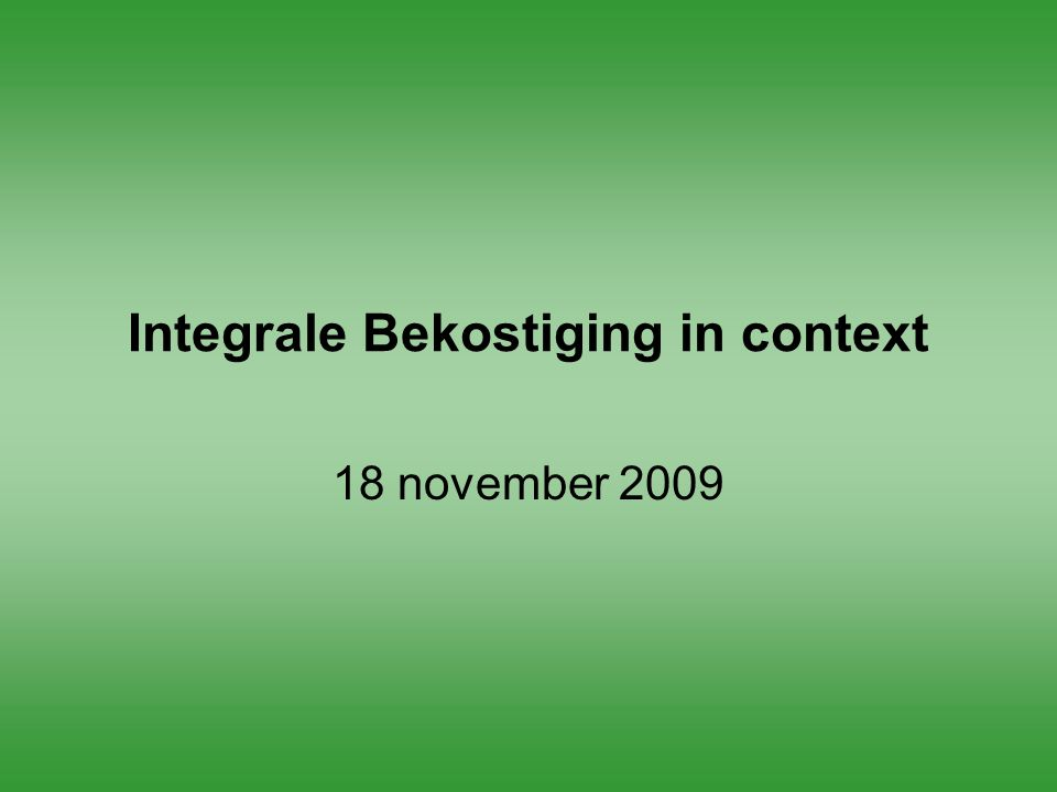Integrale Bekostiging in context