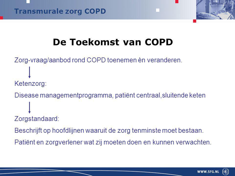 De Toekomst van COPD Zorg-vraag/aanbod rond COPD toenemen èn veranderen. Ketenzorg: Disease managementprogramma, patiënt centraal,sluitende keten.
