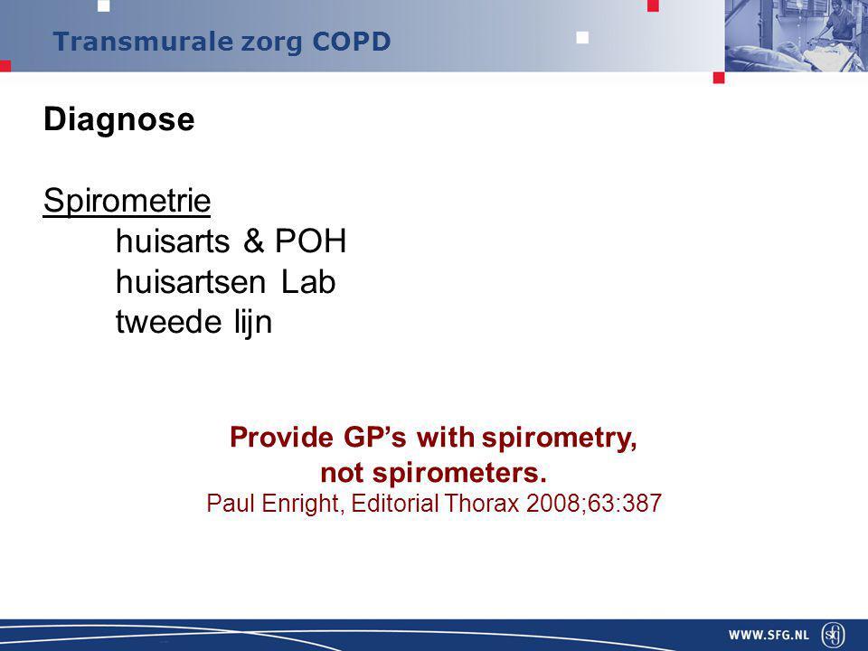 Diagnose Spirometrie huisarts & POH huisartsen Lab tweede lijn