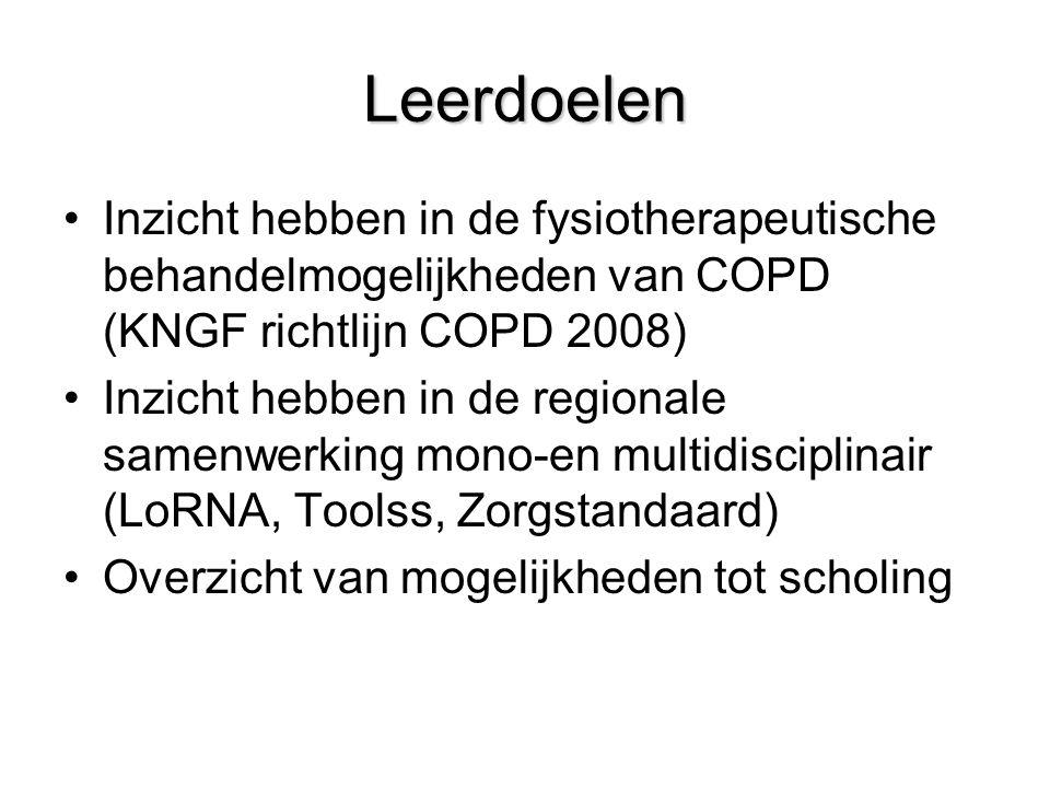 Leerdoelen Inzicht hebben in de fysiotherapeutische behandelmogelijkheden van COPD (KNGF richtlijn COPD 2008)