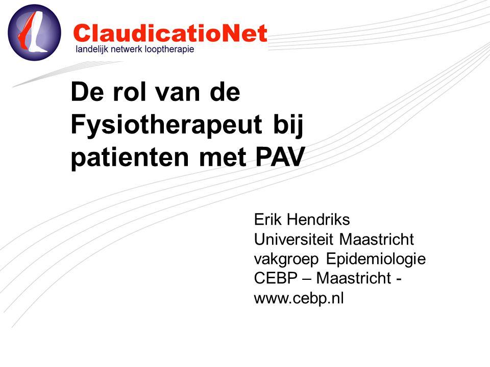 De rol van de Fysiotherapeut bij patienten met PAV