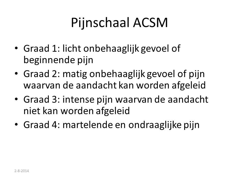 Pijnschaal ACSM Graad 1: licht onbehaaglijk gevoel of beginnende pijn