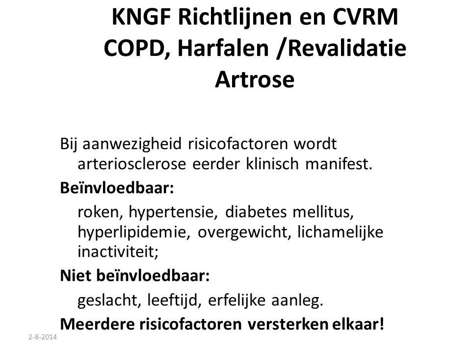 KNGF Richtlijnen en CVRM COPD, Harfalen /Revalidatie Artrose