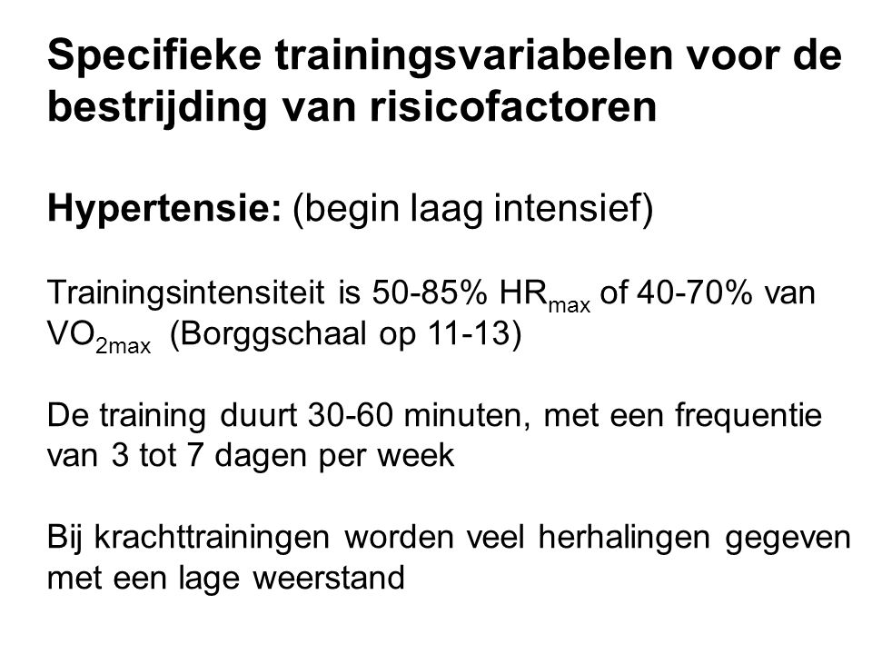 Specifieke trainingsvariabelen voor de bestrijding van risicofactoren