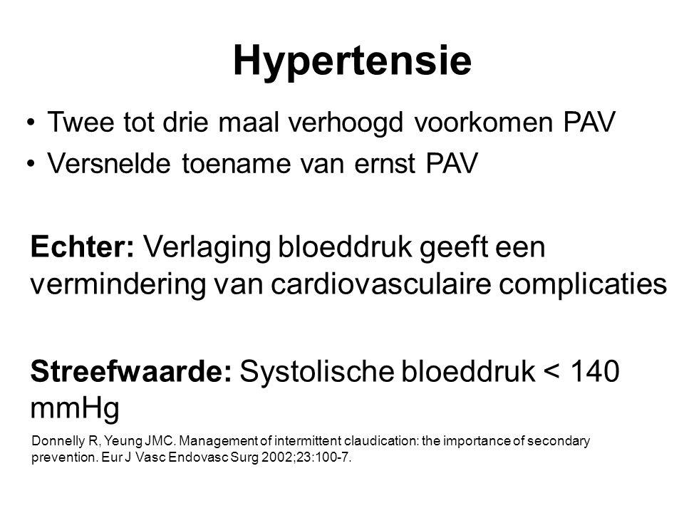 Hypertensie Twee tot drie maal verhoogd voorkomen PAV. Versnelde toename van ernst PAV.