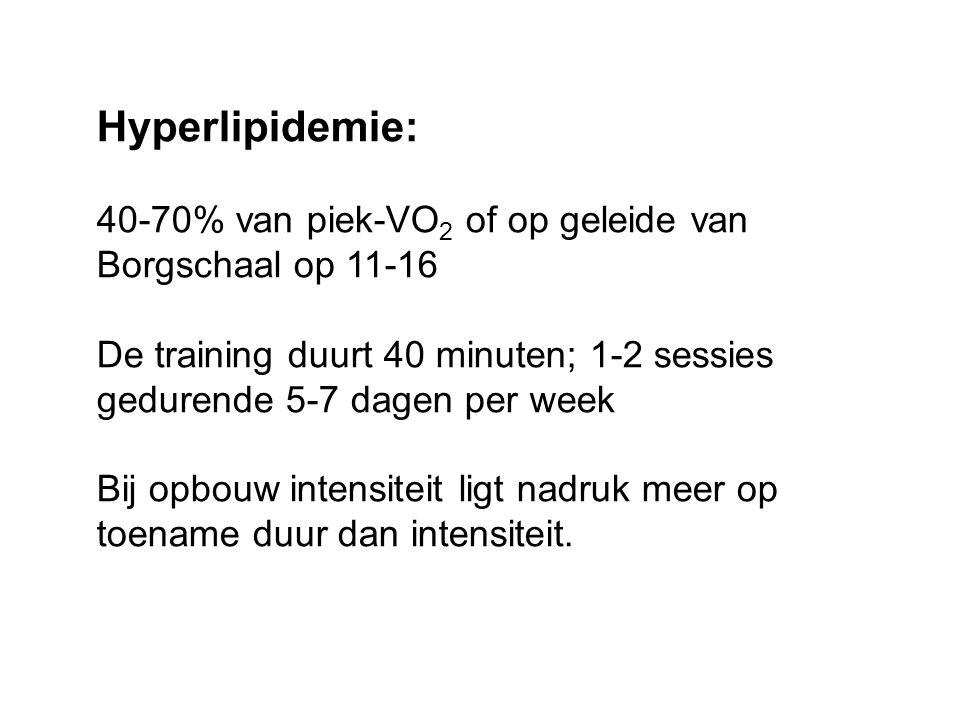 Hyperlipidemie: 40-70% van piek-VO2 of op geleide van Borgschaal op 11-16. De training duurt 40 minuten; 1-2 sessies gedurende 5-7 dagen per week.