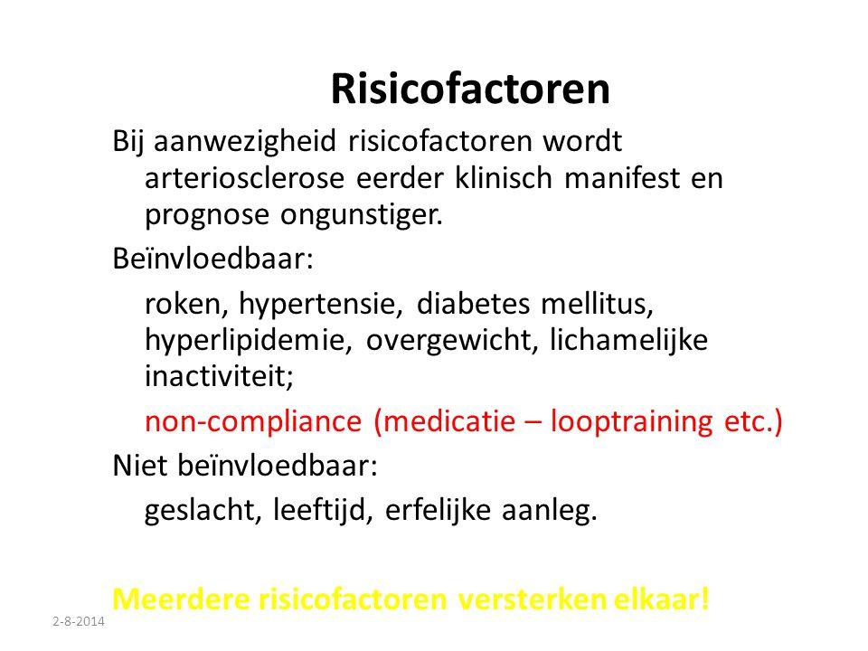 Risicofactoren Bij aanwezigheid risicofactoren wordt arteriosclerose eerder klinisch manifest en prognose ongunstiger.