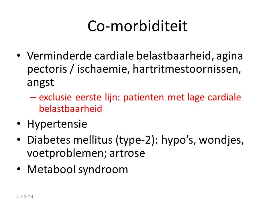 Co-morbiditeit Verminderde cardiale belastbaarheid, agina pectoris / ischaemie, hartritmestoornissen, angst.
