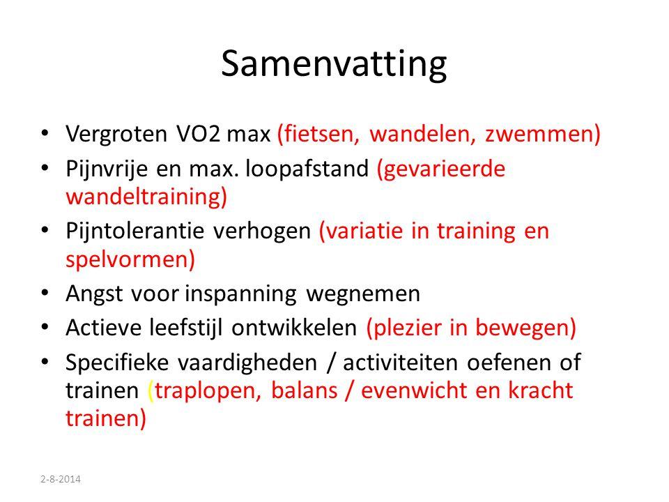 Samenvatting Vergroten VO2 max (fietsen, wandelen, zwemmen)