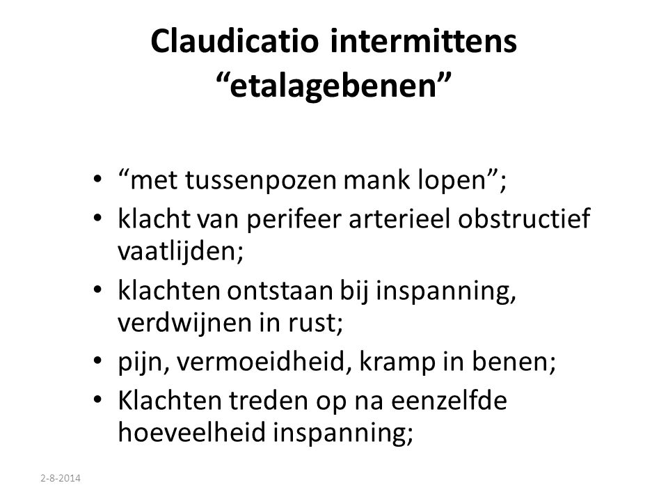 Claudicatio intermittens etalagebenen