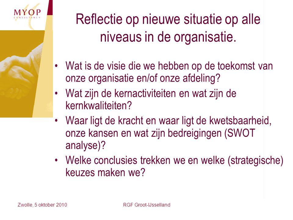 Reflectie op nieuwe situatie op alle niveaus in de organisatie.