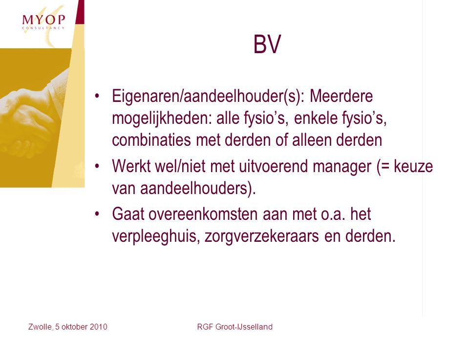 BV Eigenaren/aandeelhouder(s): Meerdere mogelijkheden: alle fysio's, enkele fysio's, combinaties met derden of alleen derden.
