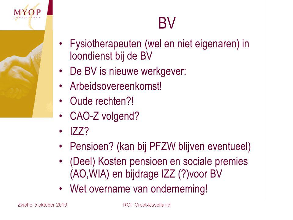 BV Fysiotherapeuten (wel en niet eigenaren) in loondienst bij de BV