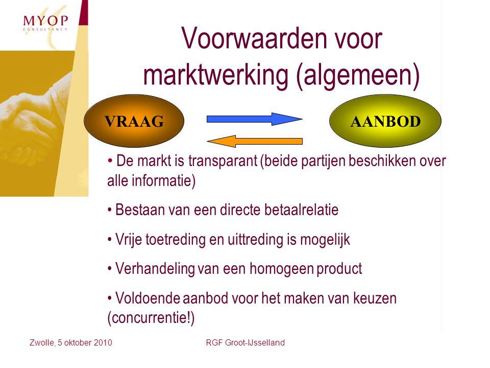 Voorwaarden voor marktwerking (algemeen)