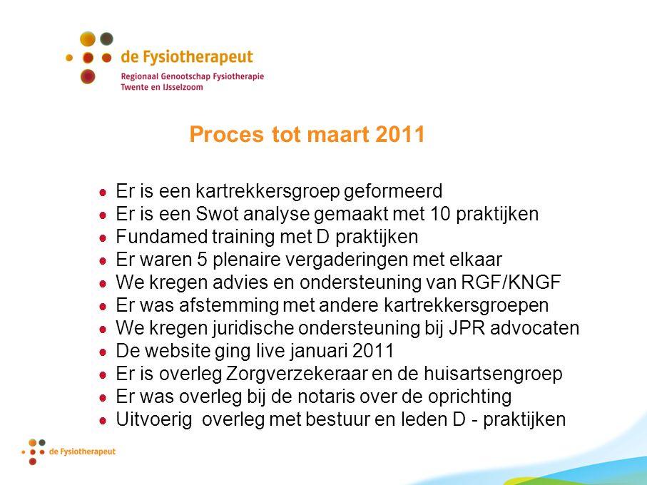 Proces tot maart 2011 Er is een kartrekkersgroep geformeerd