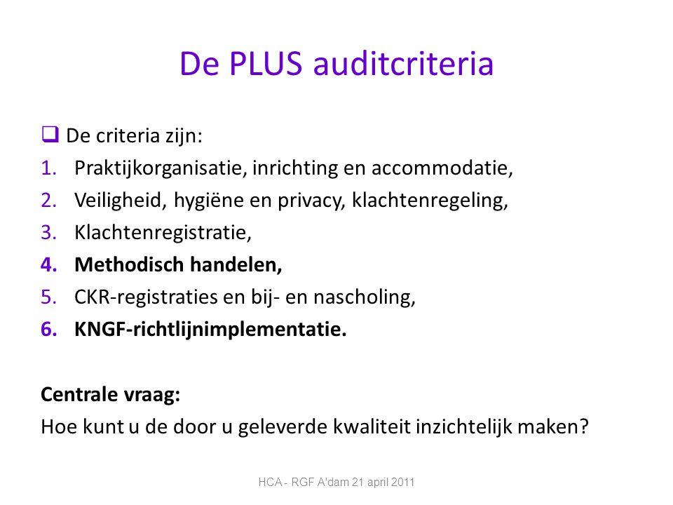 De PLUS auditcriteria De criteria zijn:
