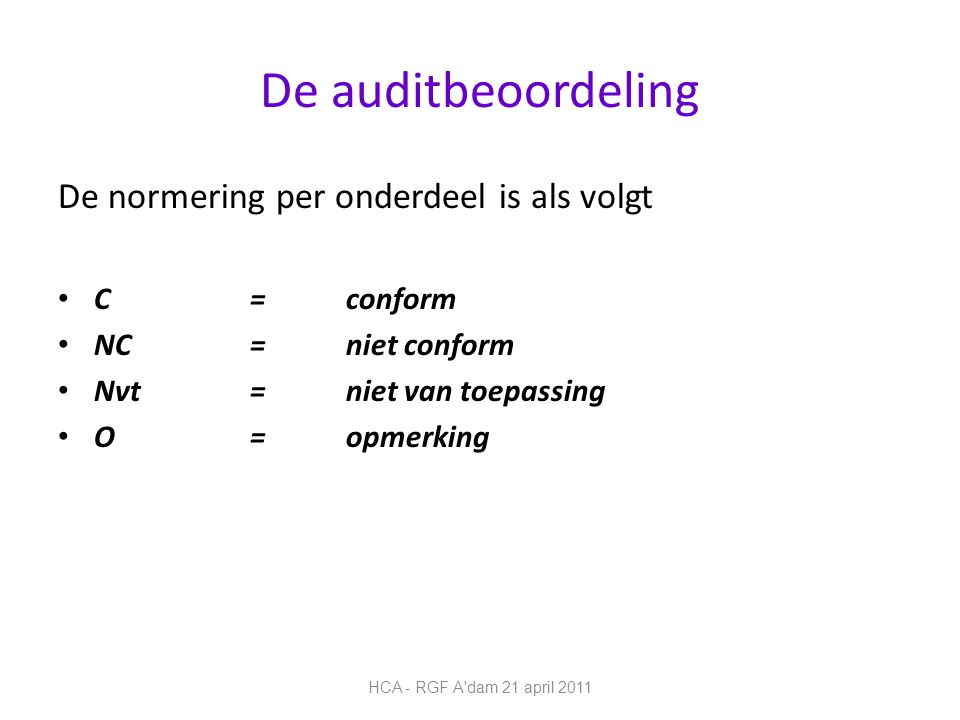 De auditbeoordeling De normering per onderdeel is als volgt