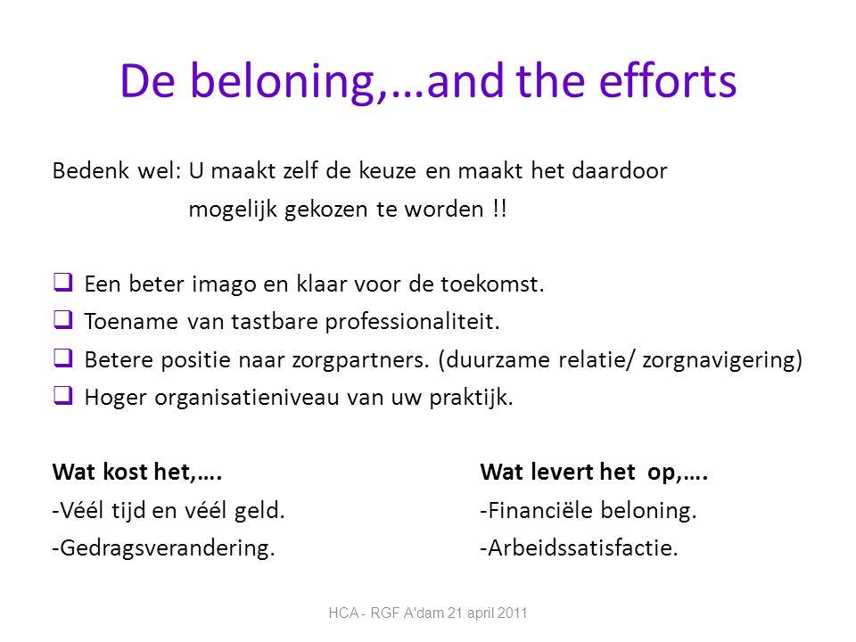 De beloning,…and the efforts