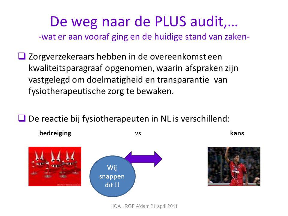 De weg naar de PLUS audit,… -wat er aan vooraf ging en de huidige stand van zaken-